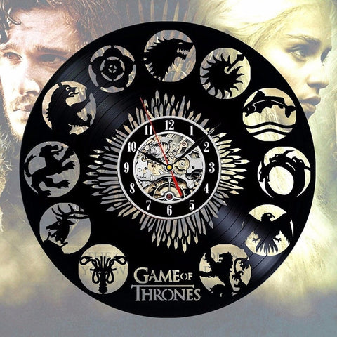 Game of Thrones Stark Khaleesi HBO Movie Characters Vinyl Record Design Wall Clock