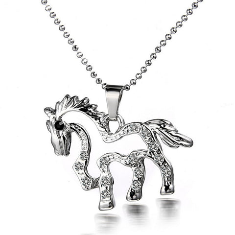 2016 Hot Selling Unisex Necklace New Fashion Alloy Cute Small Horse Shape Pendant Necklace