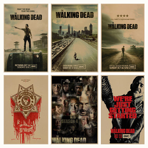 The Walking Dead movie retro Poster Retro Kraft Paper Bar Cafe Home Decor Painting Wall Sticker