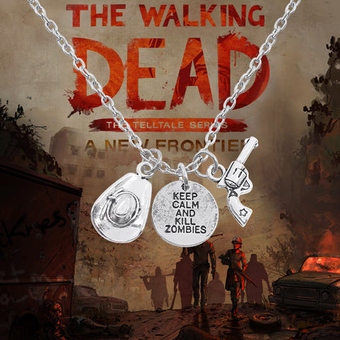 2017 Hot Movie TWD Necklace With Gun Hat Letters Keep Calm And Kill Zombies Jewelry Choker Silver Necklaces