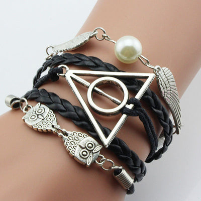 Simple Owl Harry Potter Deathly Hallows Snitch Wings Bracelet,Imitation pearl,Black Woven Leather for Men Gift