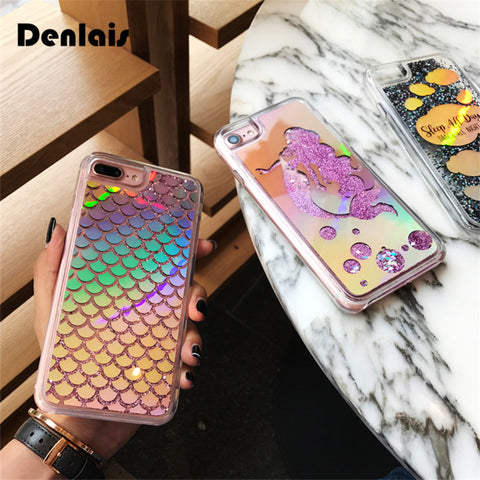 Mermaid Scales Glitter Cartoon Shinny Laser Phone Cases For iPhone X 8 7 7Plus 6 6S 6Plus
