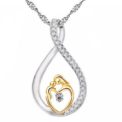 2018 new  Moms Jewelry Birthday Gift For Mother Baby Heart Charm Pendant Family Love Chain Necklace
