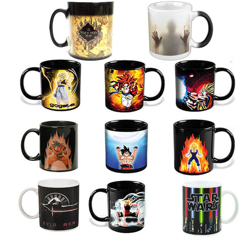 Star wars /Dragon Ball Z  /Batman vs Superman /walking dead /Captain America mug Reactive Magic Color Changing Mug Coffee Cup