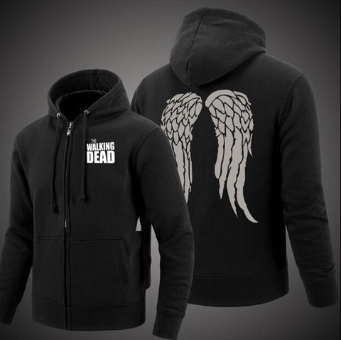 TWKD Zombie Daryl Dixon Wings Cotton Sweatshirts Hoodie Zip-up Coat Jacket Sportswear