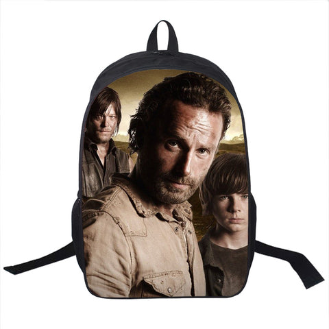 Tv Show TWKD Backpack Young Men Women Daily Backpack Daryl Dixon Book Bag Rick School Bags For Teenagers Backpacks