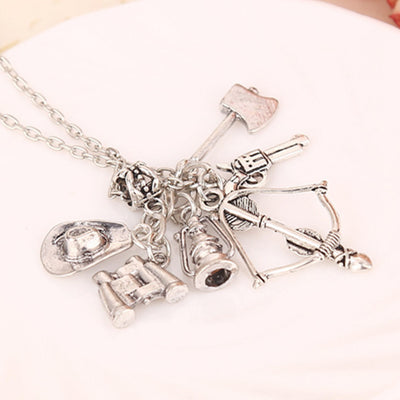 The Walking Dead necklace vintage Zombie hat telescope bow and arrow gun axe water bottle pendant for men and women wholesale