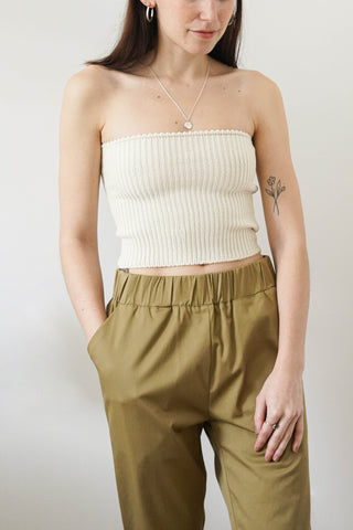 Distressed tube top | Crème