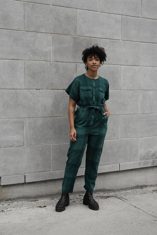 Canyon Jumpsuit | Emerald Plaid