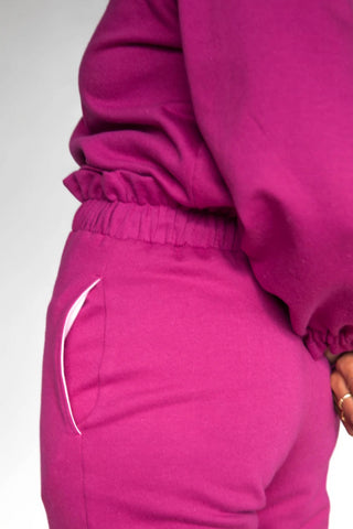 Ruffle Sweatpants| Raspberry pink