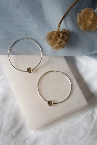 Daisy hoops ⎮ 14K yellow gold plated and peridot