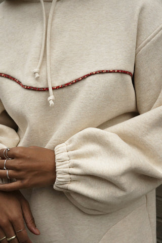 Margot Hoodie | Beige and red