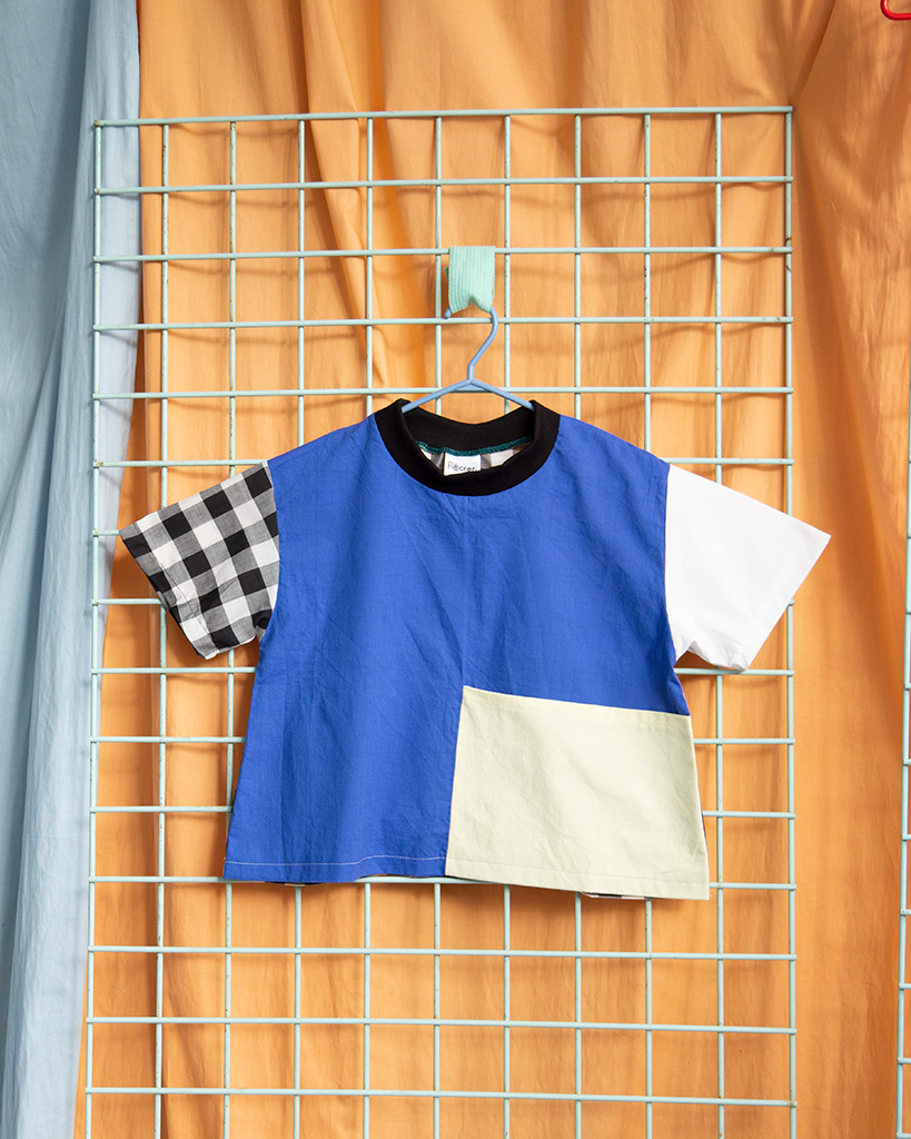 T-shirt Bleu & poche jaune | Grand enfant
