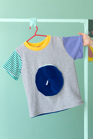 T-shirt Gris & béret bleu | Grand enfant