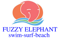 Colorful smiling, elephant swimming/surfing a wave. Brand name Fuzzy Elephant, tag-swim-surf-beach.