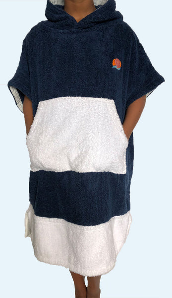 Navy Whale Poncho Cover Up