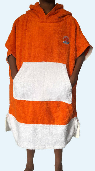 Sunset Orange Poncho Cover Up