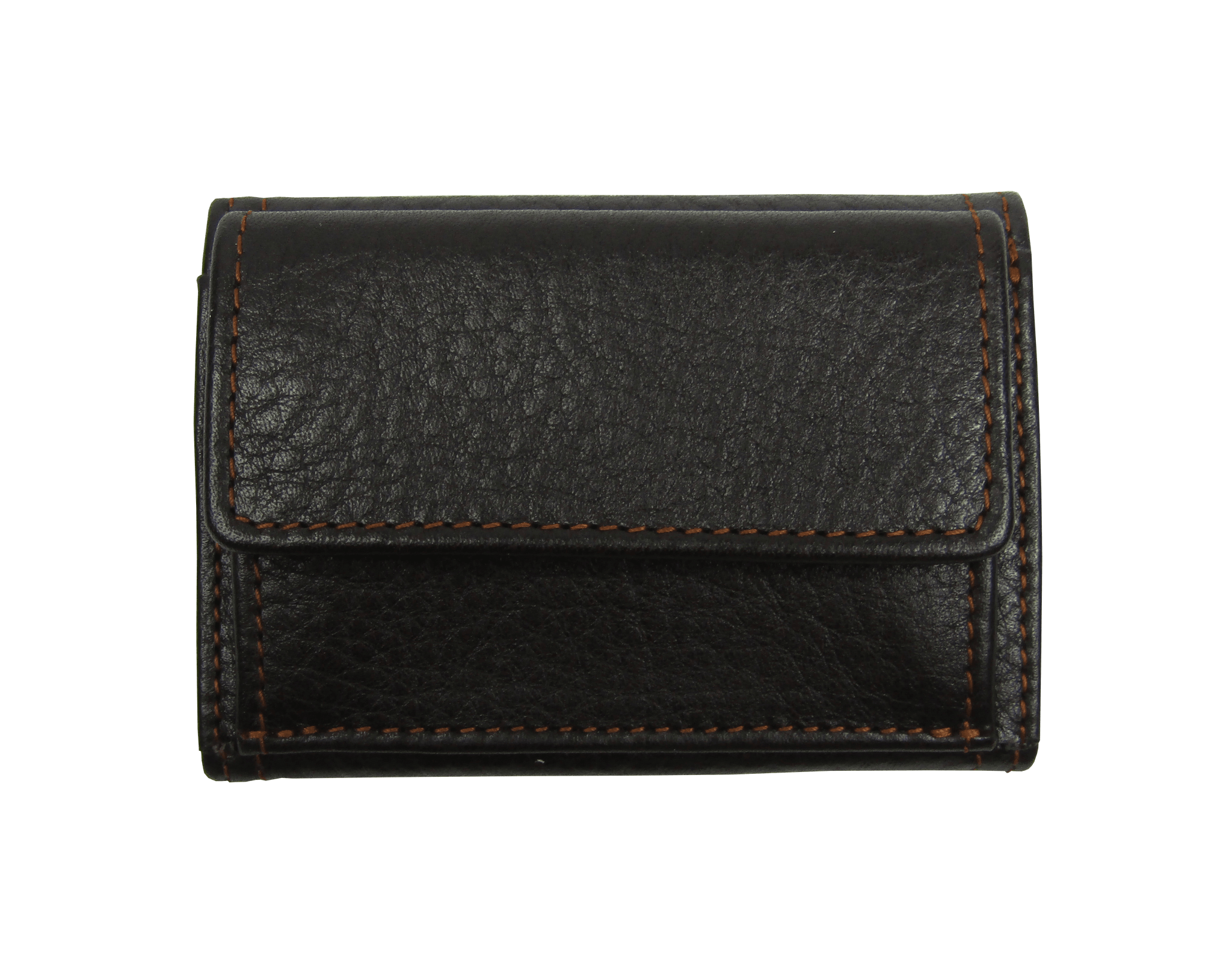 Small Leather Wallet in Brown Grained Calf Leather
