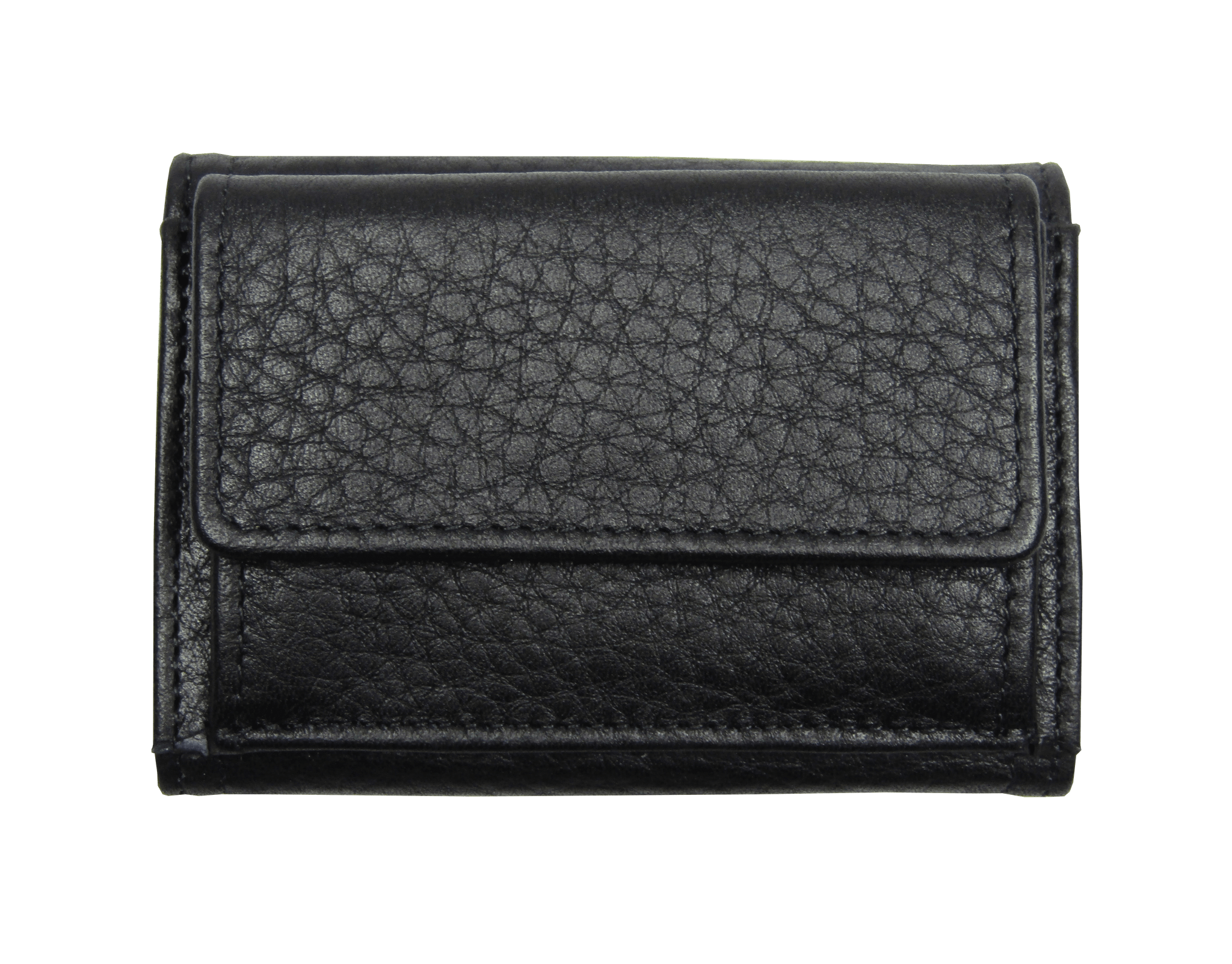 Small leather wallet in black grained calf leather