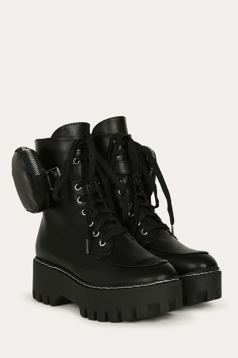 Bamboo Staging-09 Black Combat Boot with Coin Pouch around ankle