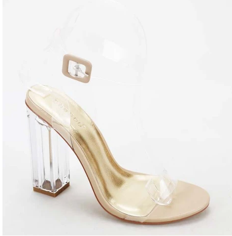 Bamboo Avenue-06 Nude Open Toe Clear Chunky Transparent Heel.
