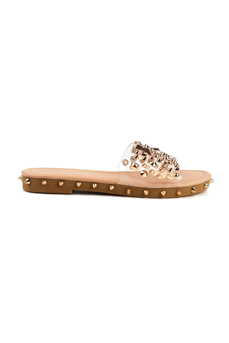 Cape Robbin Inclination Nude Studded Clear Slide On Sandals