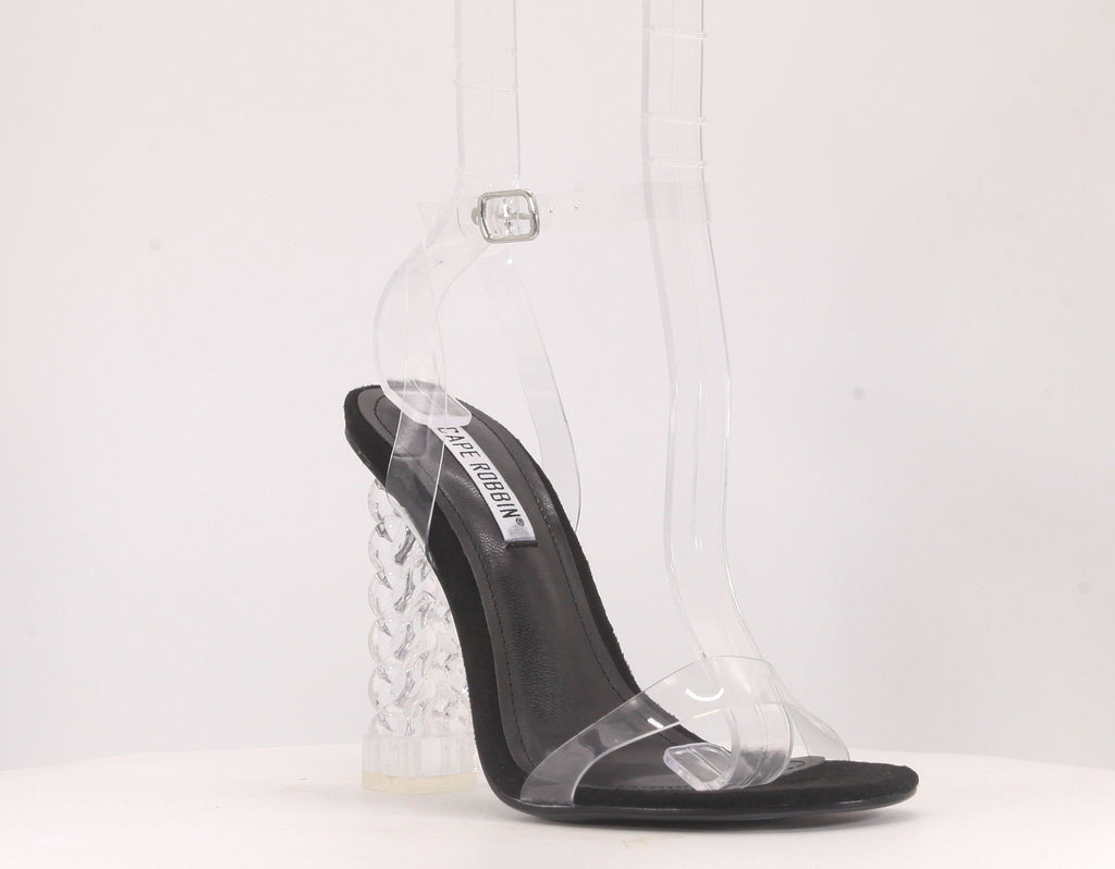 Cape Robbin Dimmy Black Clear Heel w/ Clear Strap
