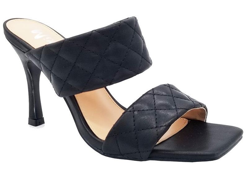 Mixx Shuzz Alison Black Padded Double strap Backless Heel.