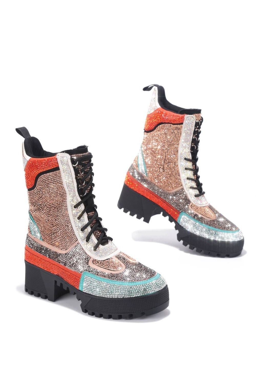 Cape Robbin Kingston Multi Rhinestone Combat Boot