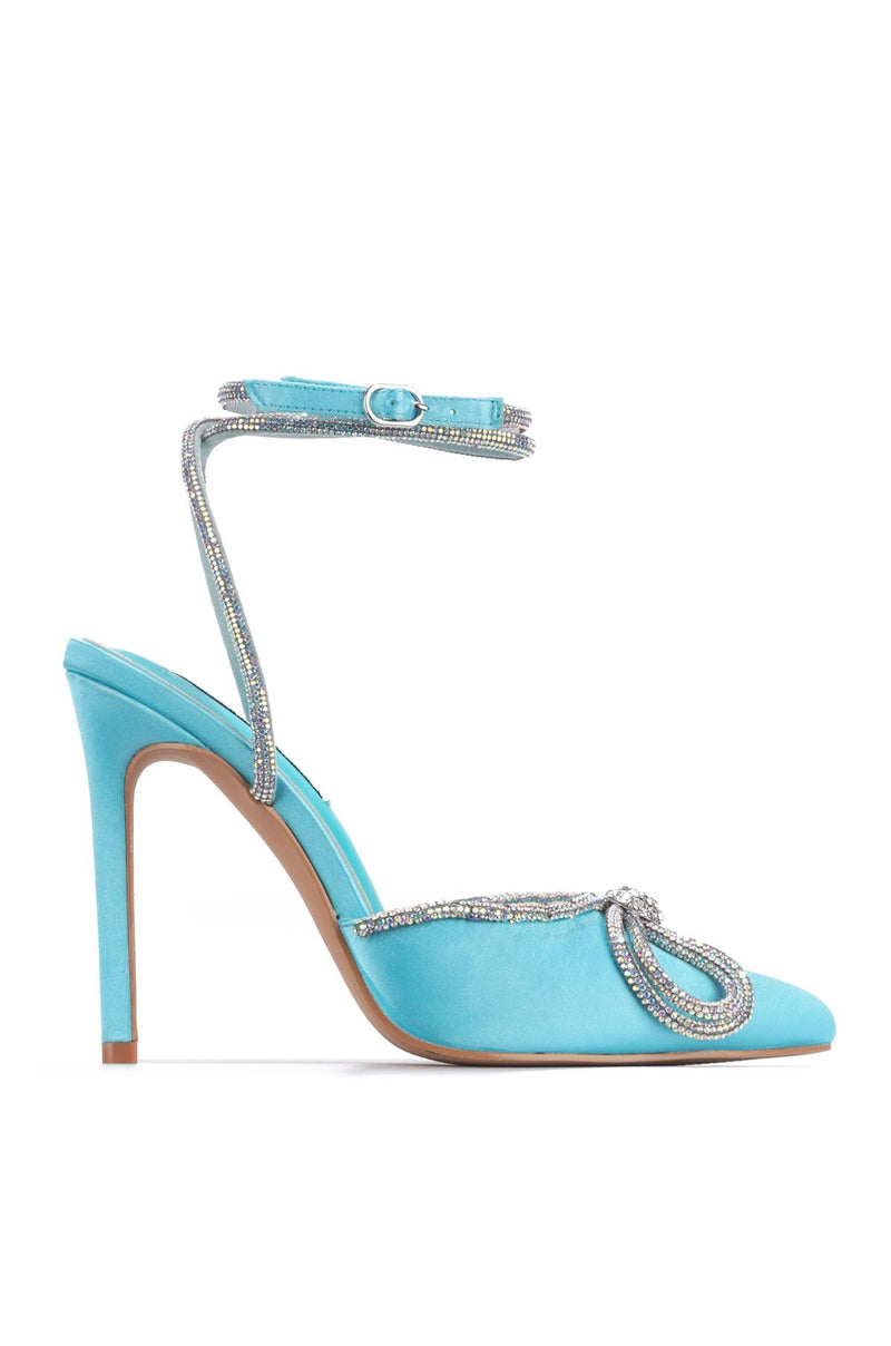 Cape Robbin Christie Blue Pointed Toe Heel With Silver Rhinestone Bow Tie