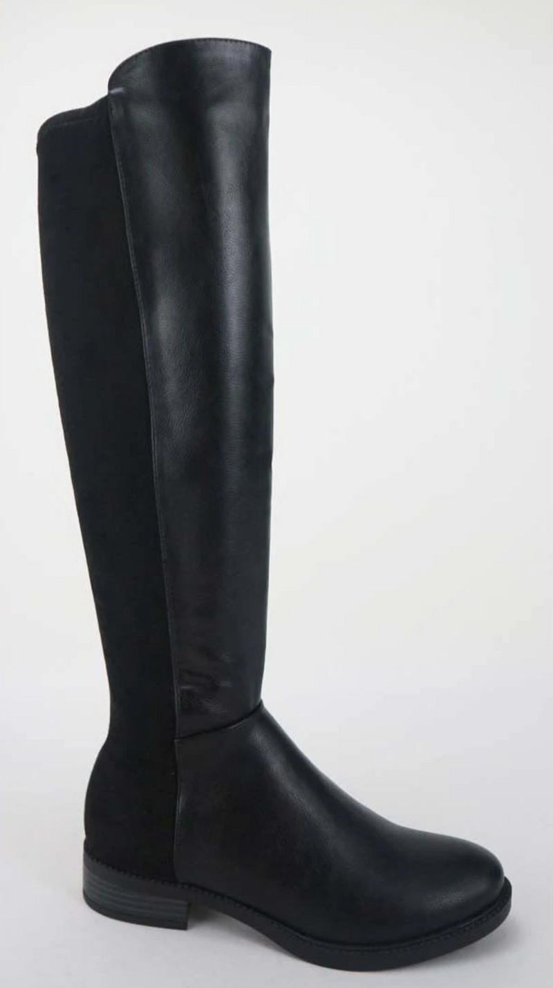 Bamboo Sector-08 Black Two Tone Knee High Riding Boots