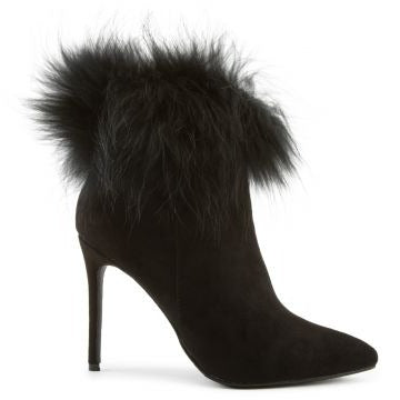 Liliana Stallion-01 Black Ankle Bootie W/ Fur Cuff