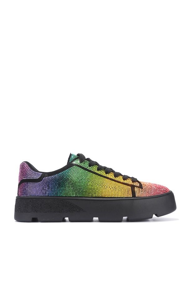 Cape Robbin Euro Black Rainbow Lace up Rhinestone Sneakers