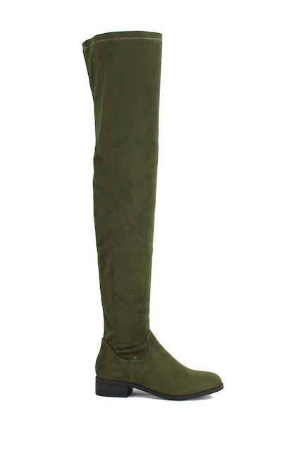 Nature Breeze Olympia-20TH Olive Su Flat Over-the-Knee Boot