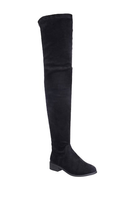 Nature Breeze Olympia-20TH Black Su Flat Over-the-Knee Boot