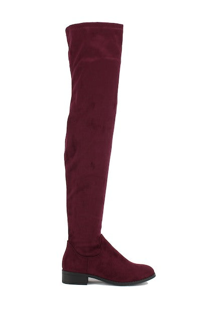 Nature Breeze Olympia-20TH Burgundy Su Flat Over-the-Knee Boot