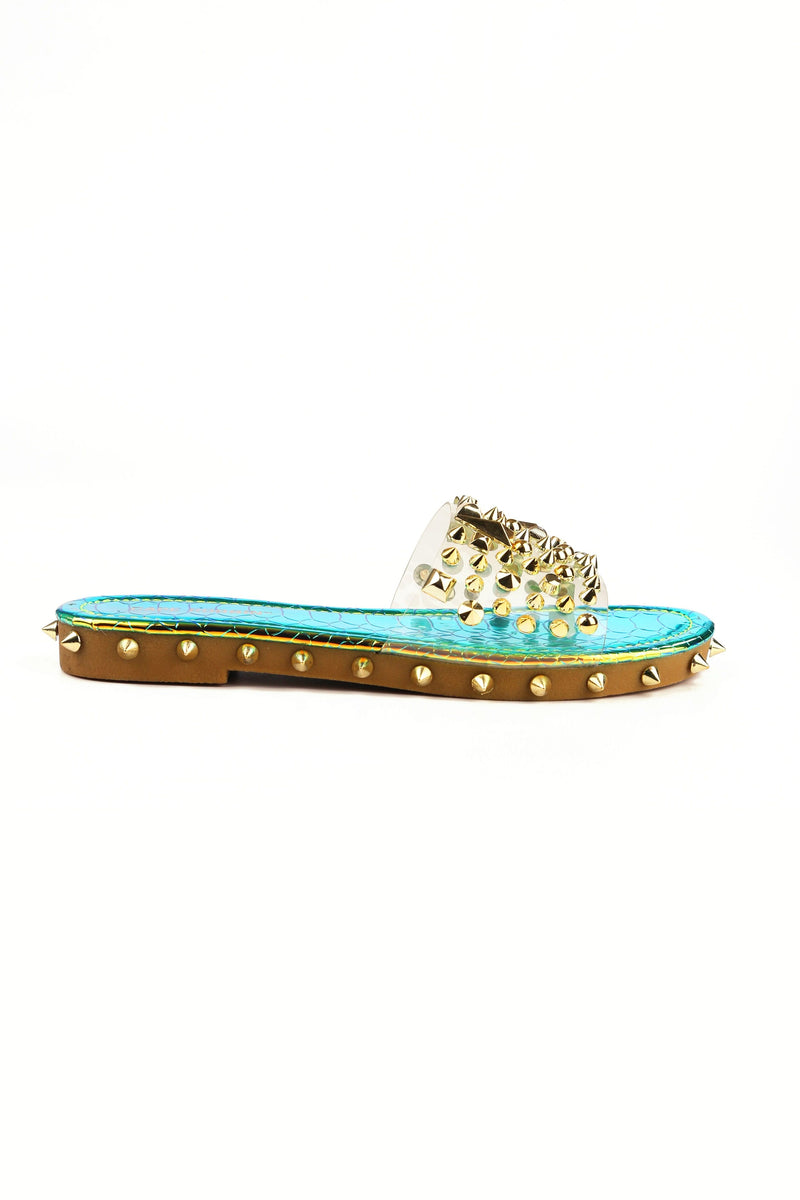 Cape Robbin Inclination Mermaid Studded Clear Slide On Sandals