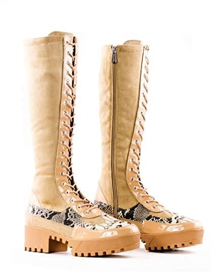 Cape Robbin Eliza Nude Snake Lace Up Combat Boot W/ Side zipper