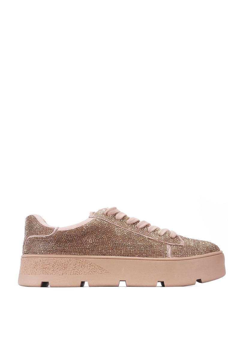 Cape Robbin Euro Rosegold Lace up Rhinestone Sneakers