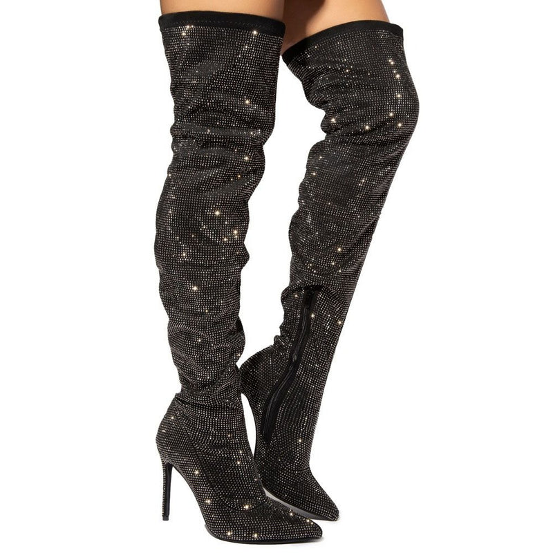 Liliana Javir-2 Black Thigh High Rhinestone Heel