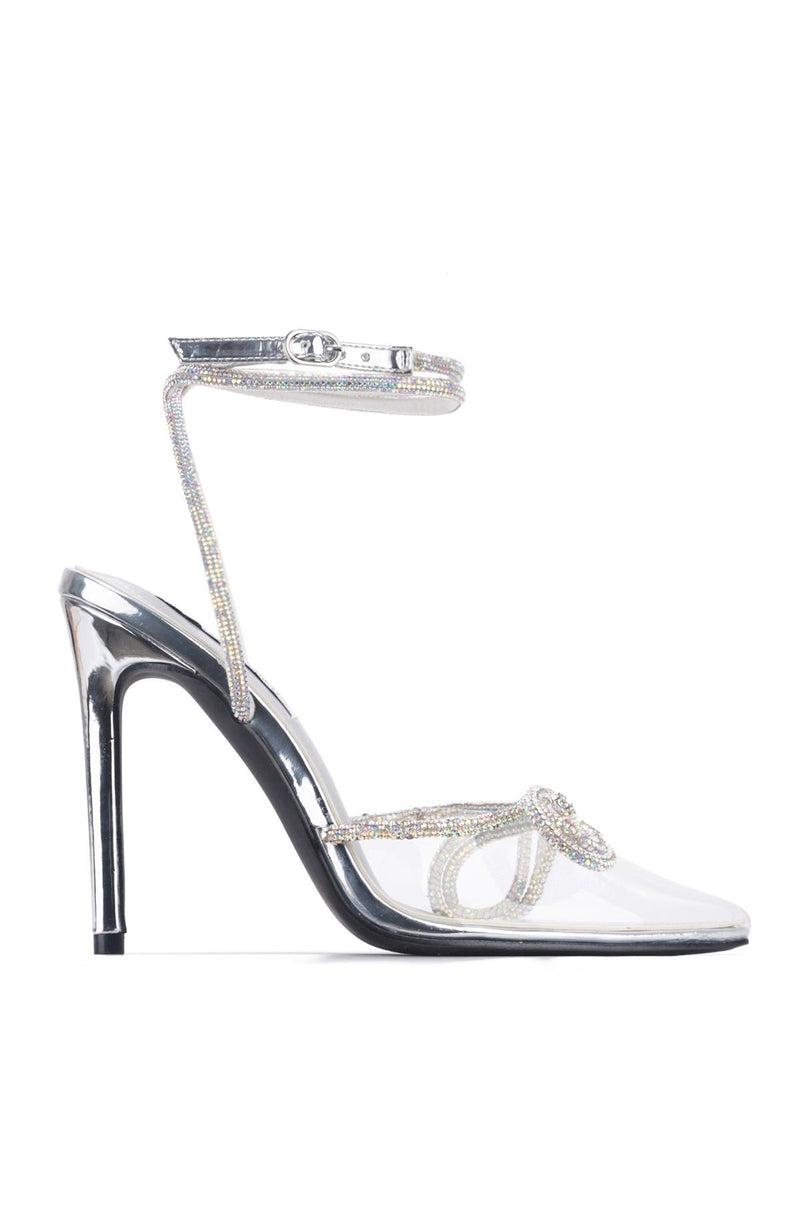 Cape Robbin Christie Silver/Clear Pointed Toe Heel With Silver Rhinestone Bow Tie