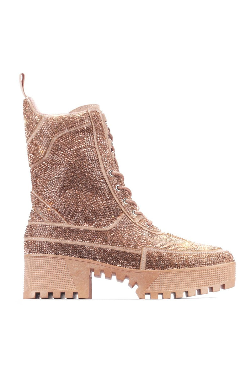 Cape Robbin Kingston Rose Gold Rhinestone Combat Boot