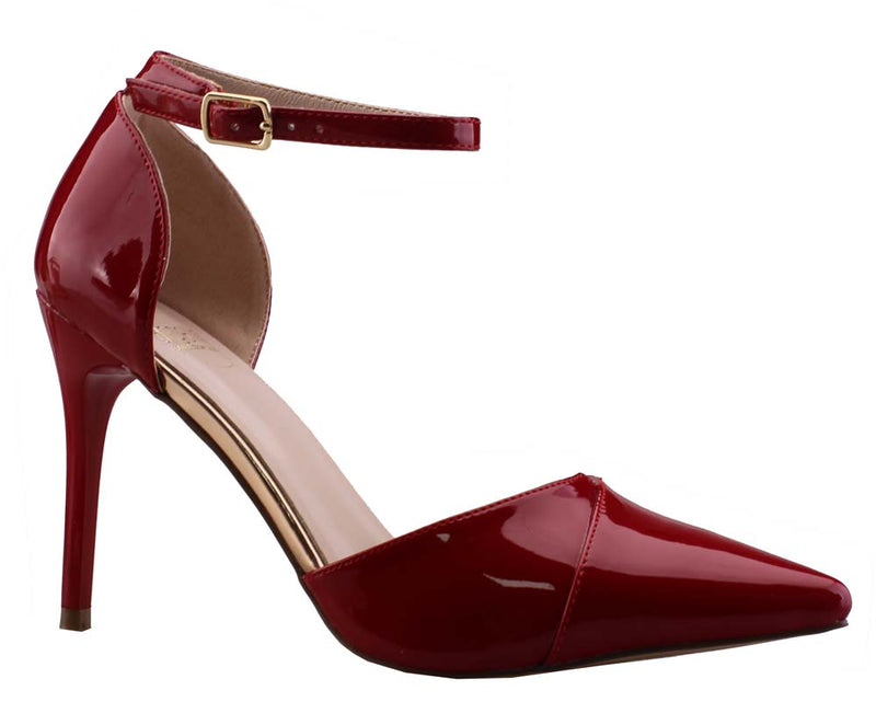 De Blossom A-Penny-4 Red Pat Pointed Toe Heel