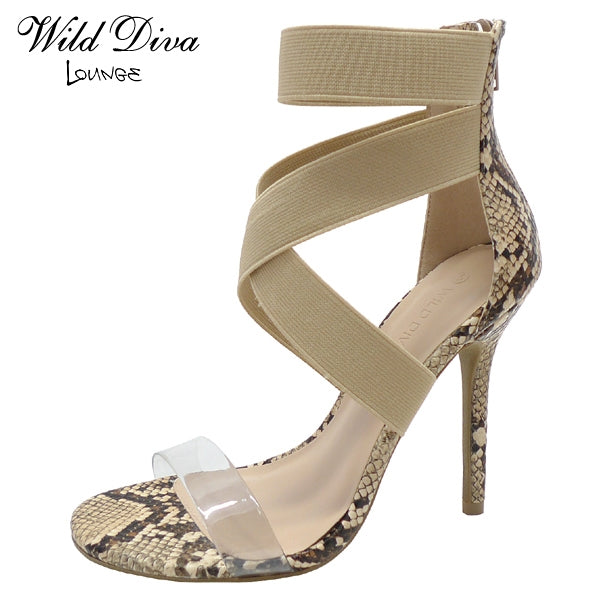 Wild Diva Adele-494 Natural Snake Clear Front Strap with Ankle Strap