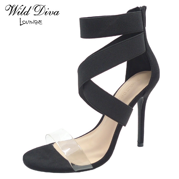 Wild Diva Adele-494 Black Clear Front Strap with Ankle Strap