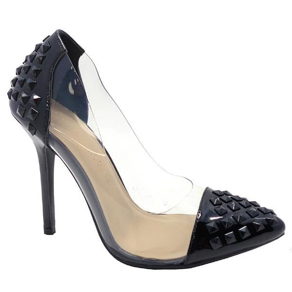 Wild Diva Adora-179 Black Studded Clear Pointed Heel