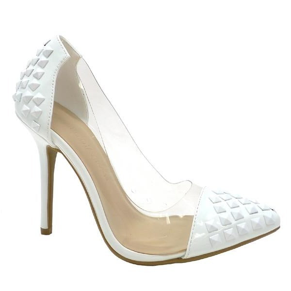 Wild Diva Adora-179 White Studded Clear Pointed Heel