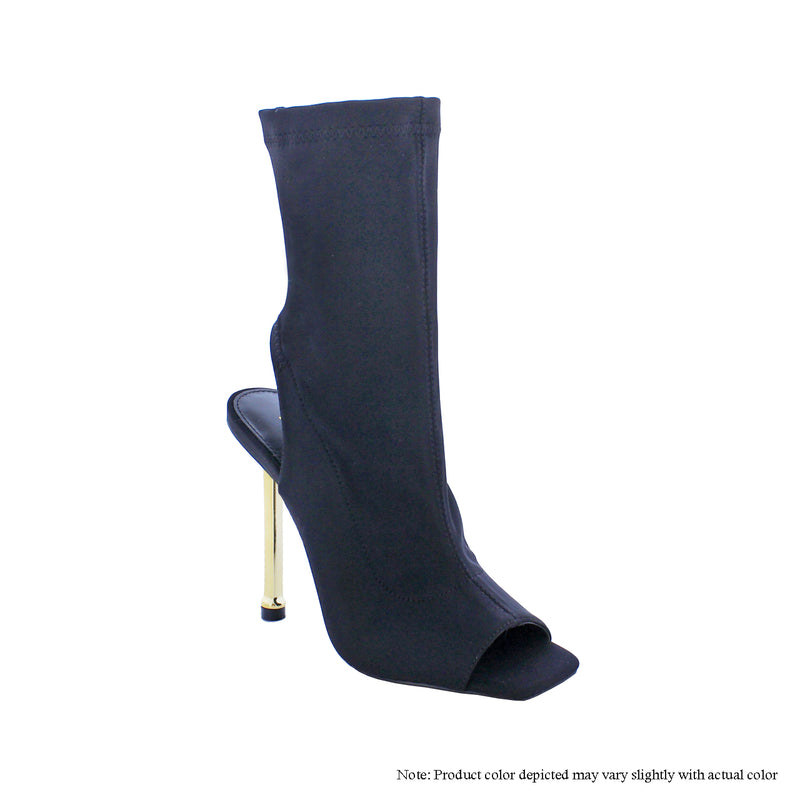 Liliana Alina-2 Black Open Toe Stretchy Skinny Heel