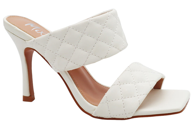 Mixx Shuzz Alison White Padded Double strap Backless Heel.