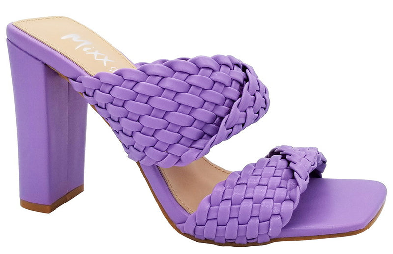 Mixx Shuzz Lilac Alma Twisted Double Strap Backless Heels